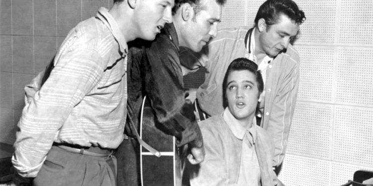 Džeri Li Luis, Karl Perkins, Elvis Prisli i Džoni Keš u studiju 1956.