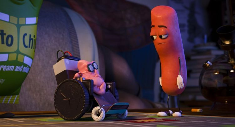 Gum (Scott Diggs Underwood) with Barry (Michael Cera) in Columbia Pictures' SAUSAGE PARTY.