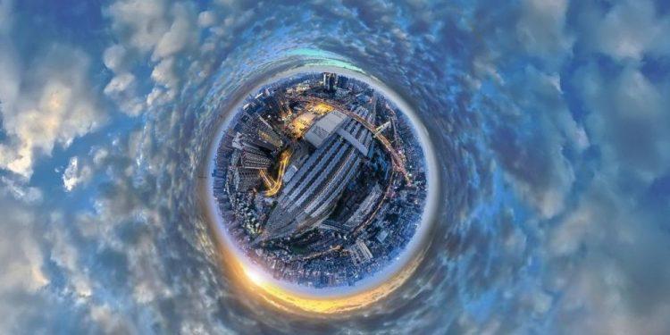 """© FOTO: 久幺/SKYPIXEL """"Zalazak sunca u Čengduu"""" – drugo mesto u kategoriji """"Entuzijaste – fotografije od 360°"""""""
