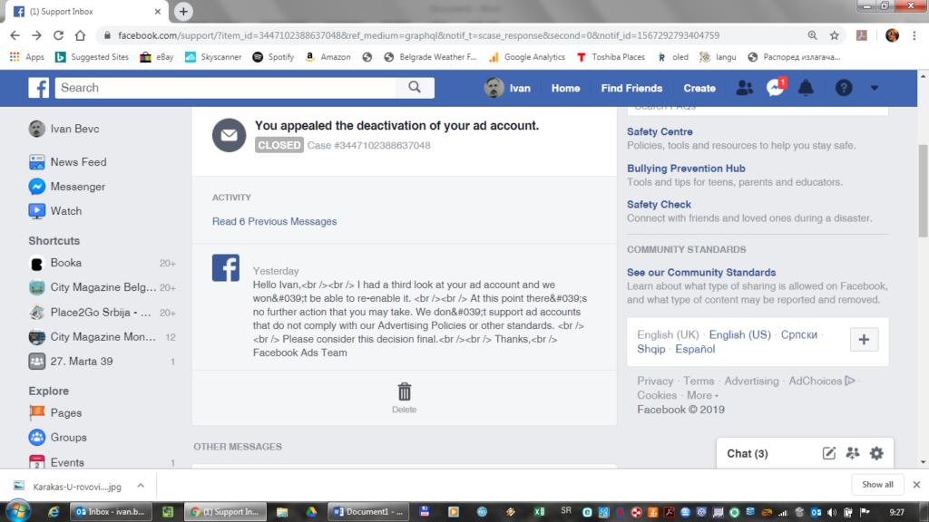 Facebook printscreen