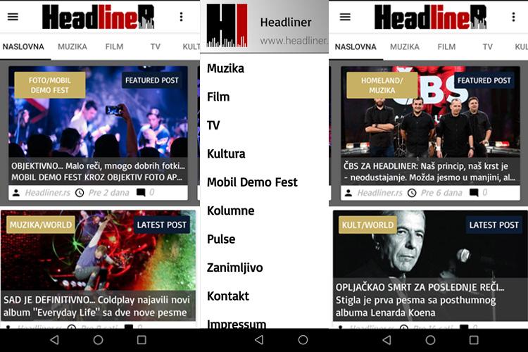 Headliner aplikacija