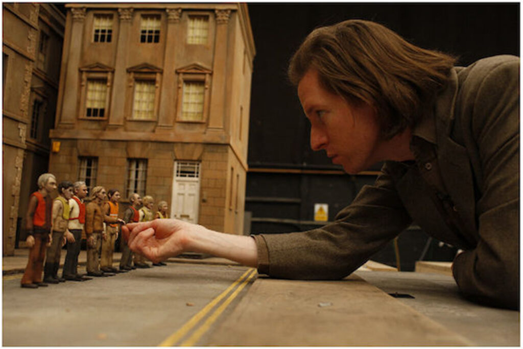 """Cussing photo of director Wes Anderson on the set of """"Fantastic Mr. Fox"""" (2009)"""