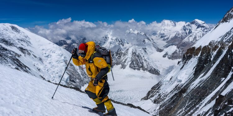 Team member during the expedition to find Sandy Irvine's remains on Mt. Everest, in attempt to solve one of the mountain's greatest mysteries: who was the first to summit Mt. Everest? (National Geographic/Matt Irving)