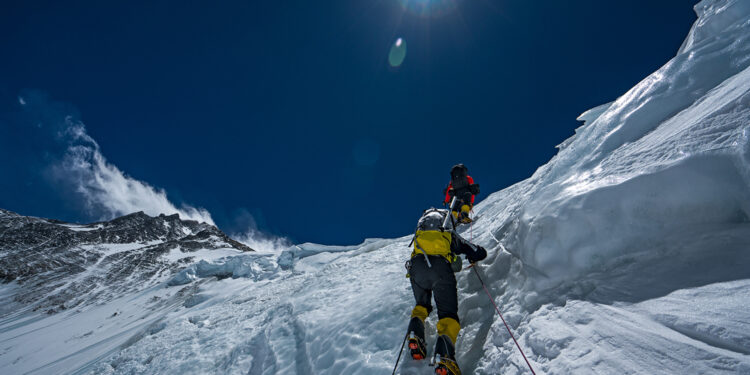 Team members climb Mt. Everest during an expedition to find Sandy Irvine's remains. (National Geographic/Renan Ozturk)