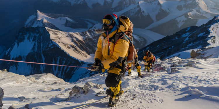 Team members during the expedition to find Sandy Irvine's remains on Mt. Everest, in attempt to solve one of the mountain's greatest mysteries: who was the first to summit Mt. Everest? (National Geographic/Matt Irving)