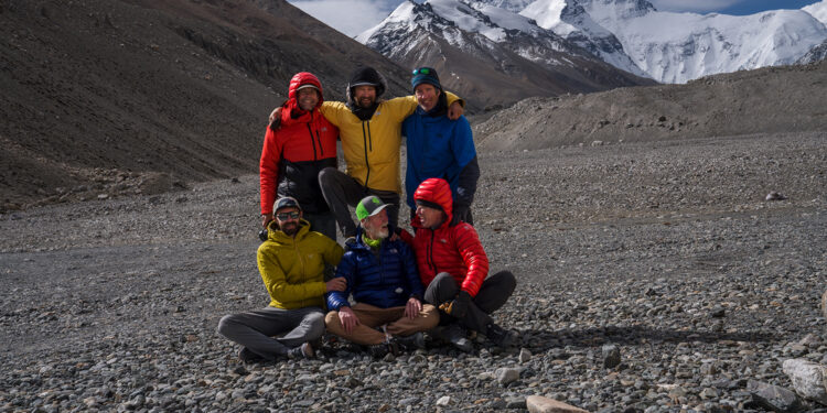 Team members (clockwise from top left) Jim Hurst, Renan Ozturk, Mark Synnott, Jamie McGuinness, Thom Pollard, and Matt Irving pose for a photo during an expedition to climb the North side of Mt. Everest in search of Sandy Irvine's remains. (National Geographic/Renan Ozturk)