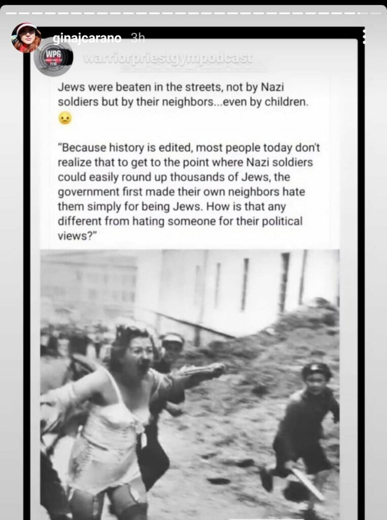 Gina Carano, izvrisana objava