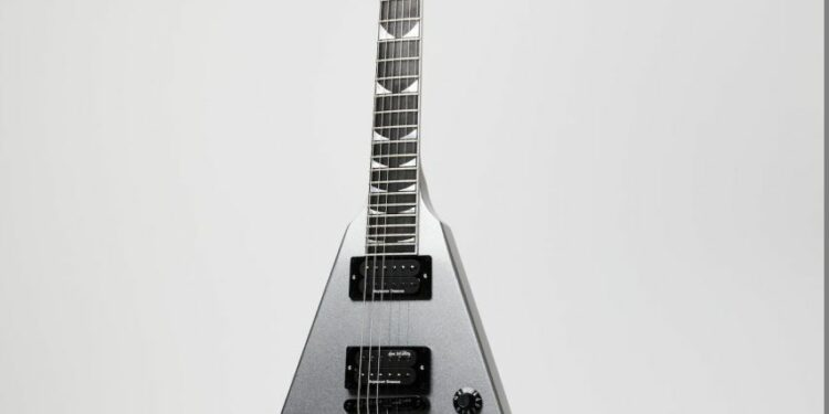 The Gibson Dave Mustaine Flying V EXP in Metallic Silver