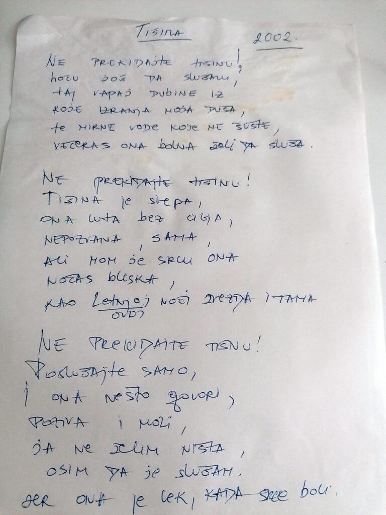 """""""Tišinu"""" Jelena je napisala kada je imala 20 godina"""
